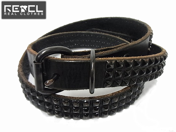 HTC BLACK ROUGH OUT LEATHER 1inch BELT BLACK/スタッズベルト