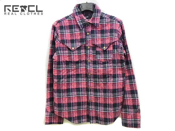 HOSU.ATPD/ホス 長袖キルティングチェックシャツ レッド 38