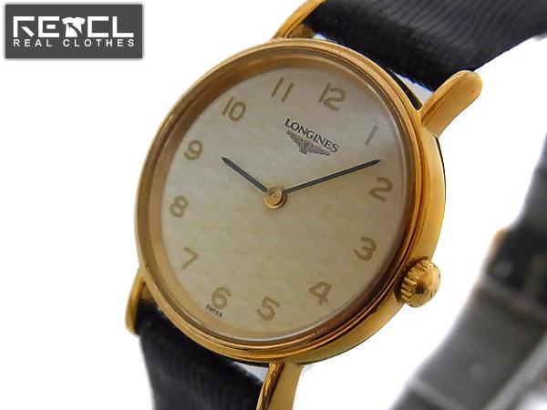 実際に弊社で買取させて頂いたlongines/ロンジン レザーバンド アナログ腕時計 金×黒