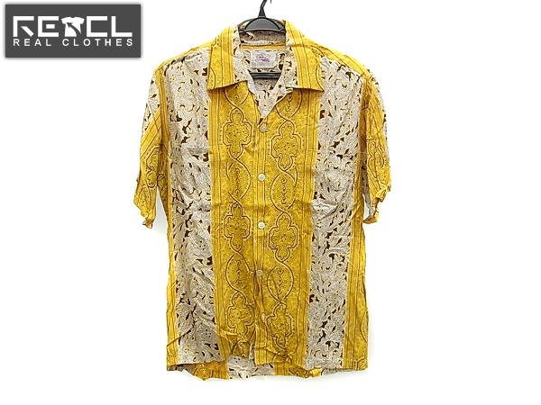 デューク・カハナモク オープンカラーアロハシャツ 黄×黒/M