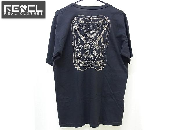 ANOTHER HEAVEN/アナザーヘブン Vネックプリント半袖Tシャツ L