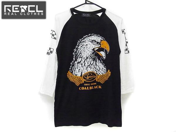 COALBLACK/コールブラック ラグラン七分袖Tシャツ 黒白/M