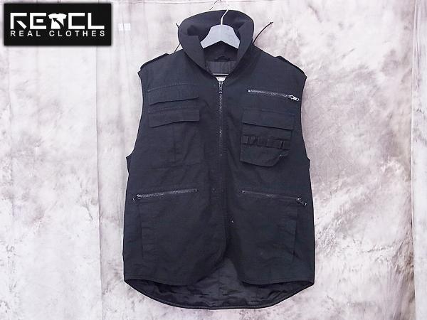 HECTIC/ヘクティク フード付ミリタリー中綿ベスト ブラック L